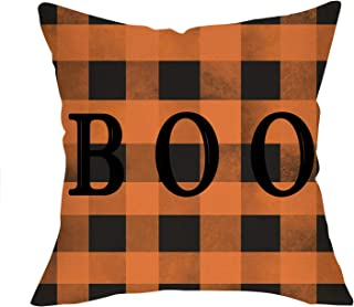 Softxpp BOO Decorative Halloween Throw Pillow Cover Orange Buffalo Plaid Check Sign, Autumn Pillow Case Decor Holiday Square Cushion Cover for Home Fall Decorations Sofa Couch 18'' x 18'' Cotton Linen
