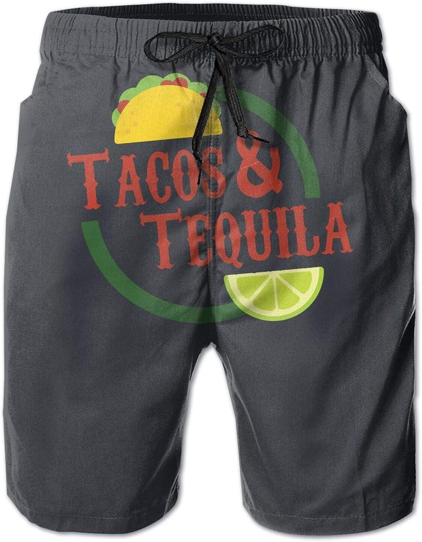 JINGSHIKEJIFAZHAN Tacos&Tequila Mans Beach Shorts Shorts Breathable Swim Trunks