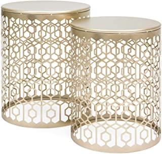 TimmyHouse Round Gold Decorative Accent Sofa Side Table Nightstand Art Deco Vintage Set 2PC