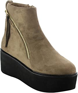 Nature Breeze EI92 Women's Double Zippers Pull Tab Platform Wedge Ankle Booties Taupe