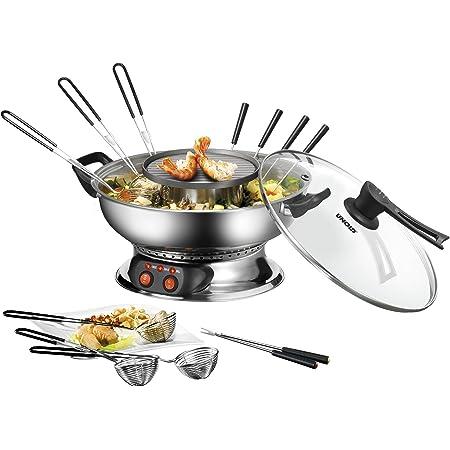 Fondue chinoise électrique tout inox avec grill - Unold 48746 - 1950 watts