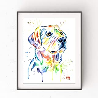 Labrador Retriever Wall Art by Whitehouse Art | Yellow Lab Painting, Dog Wall Art, Dog Picture | Professional Art Print of Smiling Yellow Lab Original Watercolor Painting | Dog Mom Gifts | 6 Sizes
