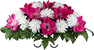Sympathy Silks Artificial Cemetery Flowers - Realistic - Outdoor Grave Decorations - Non-Bleed Colors, and Easy Fit - Beauty Amaryllis with White Mum Saddle - Headstone