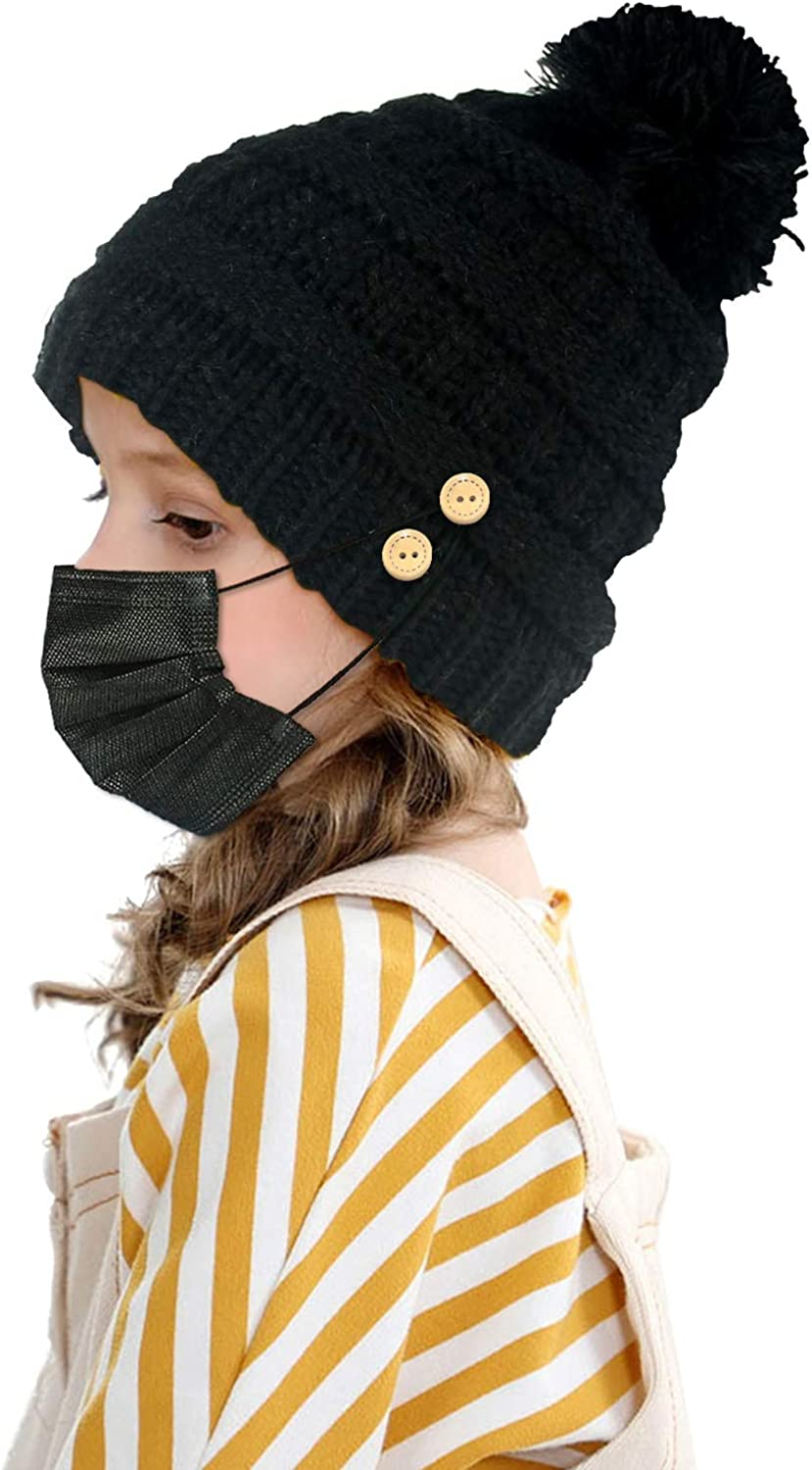 Beanie Hat Lowest price challenge for Boys Girls with Buttons Popular shop is the lowest price challenge to Face Hold Mask