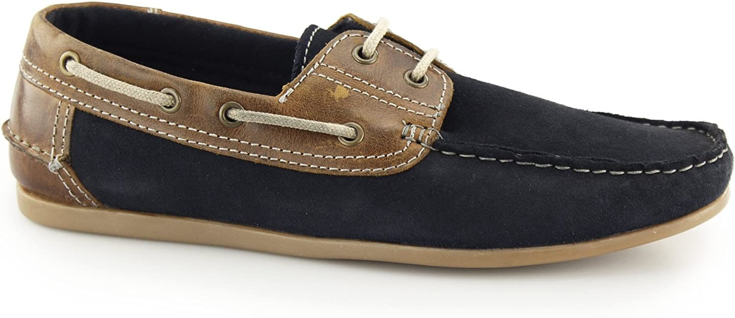 Red Tape Stratton Mens Suede Leather Lace Boat shoes Navy