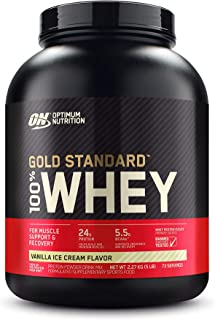 Optimum Nutrition Gold Standard 100% Whey Protein Powder, Vanilla Ice Cream - 2.27 Kilograms
