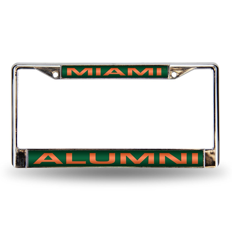 Rico Industries NCAA Miami Hurricanes Laser Cut Inlaid Standard License Plate Frame, Chrome, 6