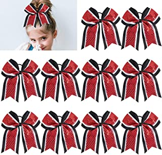 Large Glitter Cheer Bows Girls Red Black Ponytail Holders 7