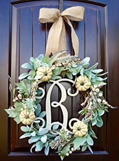 Fall Thanksgiving Door Wreath with Cream Pumpkins and Berry Accents with Lambs Ear and Faux Feathers 20-22