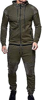 Winter Men's Solid Color Tracksuit Set Sweatshirt Jogger Sweatpants Casual Warm Sports Suit