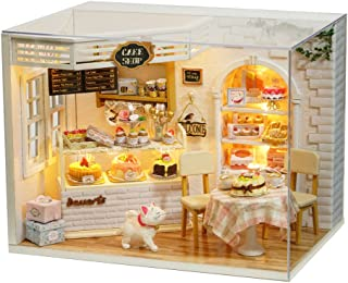 MAGQOO 3D Wooden Dollhouse Miniature DIY Doll House Kit with Furniture,1:24 DIY Cake Diary Dollhouse Kit (Dust Proof Included)