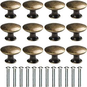abcGoodefg 12 Pcs Vintage Antique Bronze Knobs Handle Pulls 30mm Brass Round Knobs for Cabinet Drawer Kitchen Bathroom Cupboard Home Office Furniture (Green Bronze)