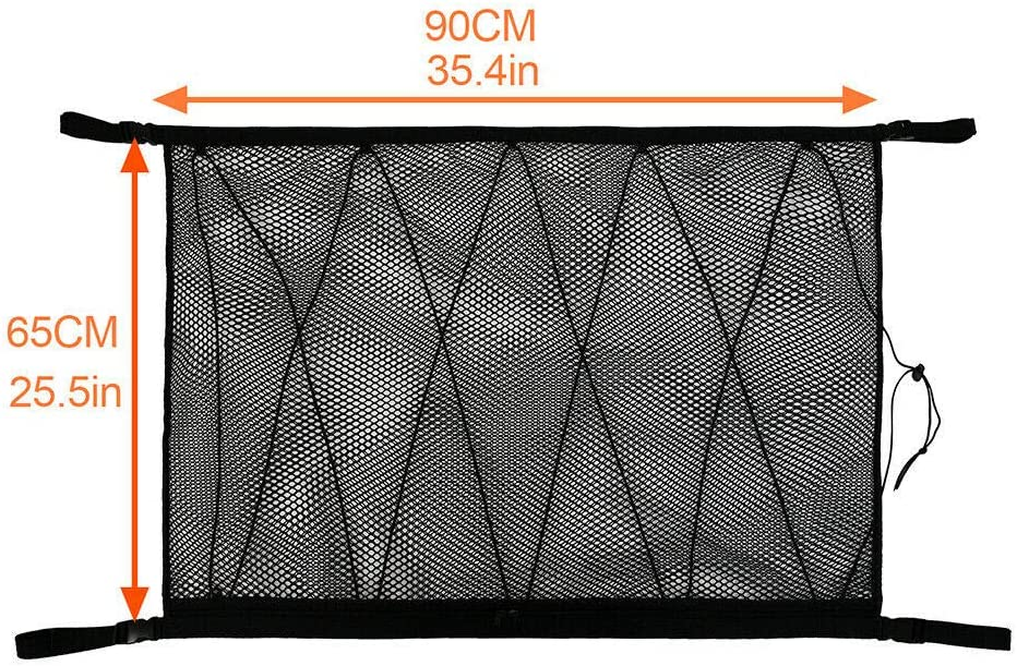 35x23 31x23 Car Roof Mesh Organizer with Seat Hook Kartisen Car Interior Ceiling Cargo Net Storage Universal for Car SUV Double-Layer and Drawstring Black