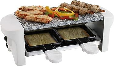 Appareil à raclette pour 2 personnes - Plaque de cuisson électrique en pierre chaude (2 poêles, revêtement antiadhésif, pi...