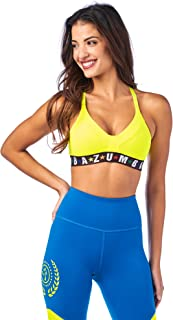 Zumba V Neck Jacquard Women Compression Dance Workout High Impact Sports Bra