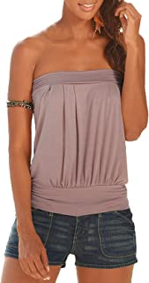 e93feff144466 Freestyle Femme Blouse sans Manches Dos Nu Bandeau Tops T-Shirt Chemisiers  Fashion Couleur Unie