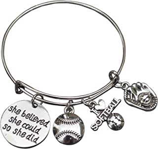 Infinity Collection Softball Bracelet- She Believed She Could So She Did Softball Jewelry -Gift for Softball Player, Team and Coaches Gifts