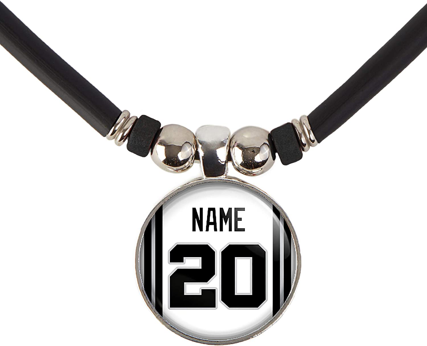 SpotlightJewels San Antonio Basketball Jersey Necklace Personalized with Your Name and Number, Personalize by EMAIL