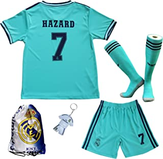 GamesDur 2019/2020 Real Madrid Hazard #7 Away Third Soccer Kids Jersey & Short & Sock & Soccer Bag Youth Sizes