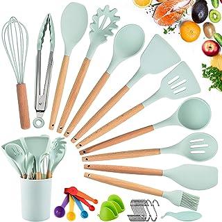 Ustensiles de Cuisine,Ustensiles de Cuisine en Silicone en Bois,Batterie de Cuisine Antiadhésive,Manche en Silicone de Qua...