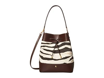 LAUREN Ralph Lauren Dryden Printed Canvas Debby Medium Drawstring (Zebra) Handbags