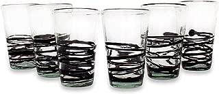 NOVICA Ebony Spin Drinking Glasses, Black