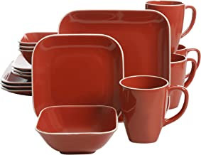 Gibson Overseas, Inc. Gibson Home Dance Dinnerware Set Soft Square Stoneware (16 Piece), Red, 16pc