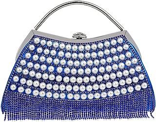Ladies Fashion Handbag, Buckle Safe Lady Handbag, Luxury Banquet Diamond Evening Bag, for Formal Occasions (23.5 * 5.5 * 19Cm),Blue
