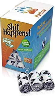 Shit Happens 100% Eco-Friendly, Biodegradable, Compostable Poop Bags, Made of Cornstarch & PBAT which Allows it to decompose into Carbon Dioxide (CO2) and Water Within Three Months