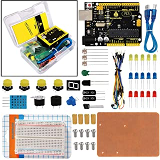 KEYESTUDIO Basic Starter Kit for Arduino, with Controller Board for Arduino Uno, Booklet, Breadboard, DHT11, Flame Sensor, Touch Switch, Buzzers, Photoresistor, LEDs, LM35DZ Sensor, etc
