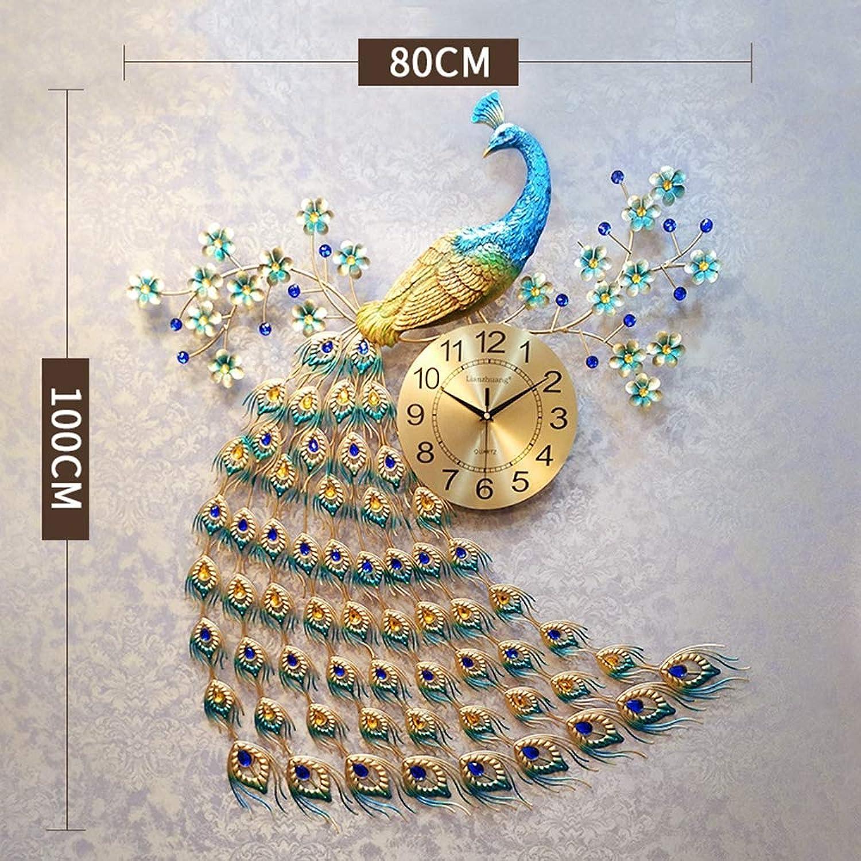 Dudu Home Dekoration Europische Pfauen Wand Uhr Crystal Luxus Wohnzimmer Uhr Kreative Persnlichkeit Kunst Dekoration Wanduhr,Largepeacock[100Cm80Cm]