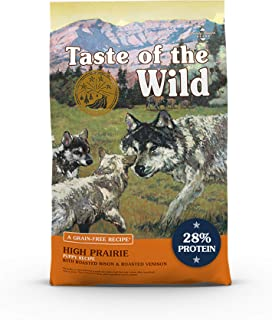 Taste of the Wild High Prairie Canine Grain-Free Recipe with Roasted Bison and Venison Dry Dog Food for Growing Puppies, M...