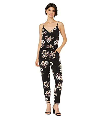 1.STATE Cross Front Floral Mirage Knit Jumpsuit (Desert Sand) Women