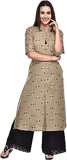 Pistaa's women's Cotton Flex Ikat Printed A-Line Green Salwar Suits Set
