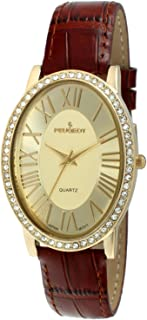 Peugeot Women's Gold-Tone Crystal Oval Brown Leather Strap Watch
