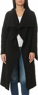 Malito Damen Mantel lang mit Wasserfall-Schnitt   Trenchcoat mit Gürtel   weicher Dufflecoat   Parka - Jacke 3040