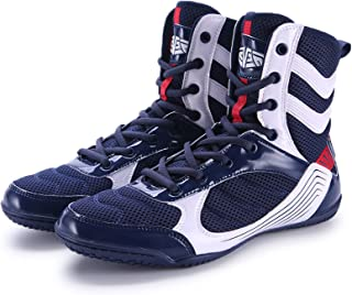 HwwPrime Men's Boxing Shoes Training Shoes, High-Top Spliced Vamp Sport Shoes,Blue,43 EU