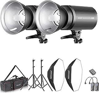Neewer Kit de Lumière 600W Flash Studio et Softbox:(2) 300W Flash(S-300N),(2) Réflecteur,(2) Support Lumière,(2) Softbox,(...