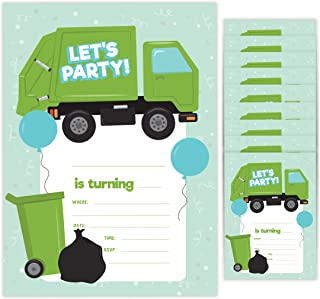 Garbage Truck Style 2 Happy Birthday Invitations Invite Cards (10 Count) With Envelopes Boys Girls Kids Party (10ct)