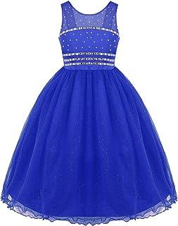 (フィーショー) FEESHOW フラワー ガールズ ドレス 子供 女の子 お姫様 ドレス ワンピース Aライン マキシ丈 結婚式 誕生日 パーティー ドレス 入園式 七五三