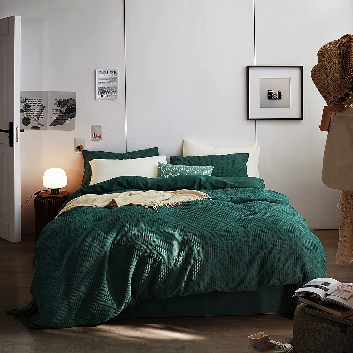 Popular shop is the lowest price Max 53% OFF challenge STACYPIK 3 PCS Emerald Green Waffle Duvet Covers King So - Weave