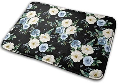 White Florals Black Carpet Non-Slip Welcome Front Doormat Entryway Carpet Washable Outdoor Indoor Mat Room Rug 15.7 X 23.6 inch