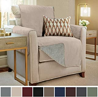 Gorilla Grip Original Slip Resistant Chair Slipcover Protector, Seat Width Up to 23 Inch Suede-Like, Patent Pending, 2 Inch Straps, Hook, Chairs Furniture Cover for Kids, Dogs, Pets, Chair, Taupe