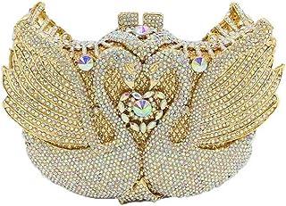 Ladies Banquet Wedding Bride Clutch Bag swan Rhinestone Crystal Party Evening Dress Bag Shoulder Bag Messenger Bag Ladies Wallet Size: 18 * 12 * 5.5cm Fashion (Color : Gold)
