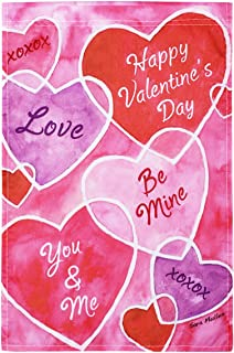 YoungRich Valentines' Day Garden Flag 17.7×11.8'' Decorative Valentine Hearts Wedding Party Valentines Day Decorations Home Garden Yard Store Mall Decor Banner Non-Fading Waterproof Red Pink