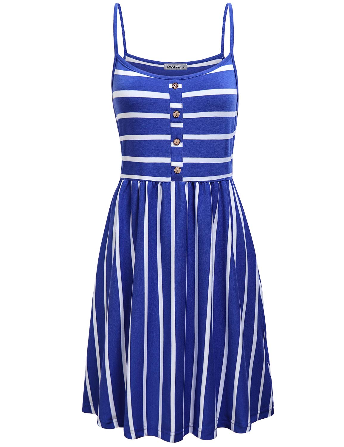Available at Amazon: MOQIVGI Women's Spaghetti Strap Button Detail Pleated Summer Casual Stripe Dresses