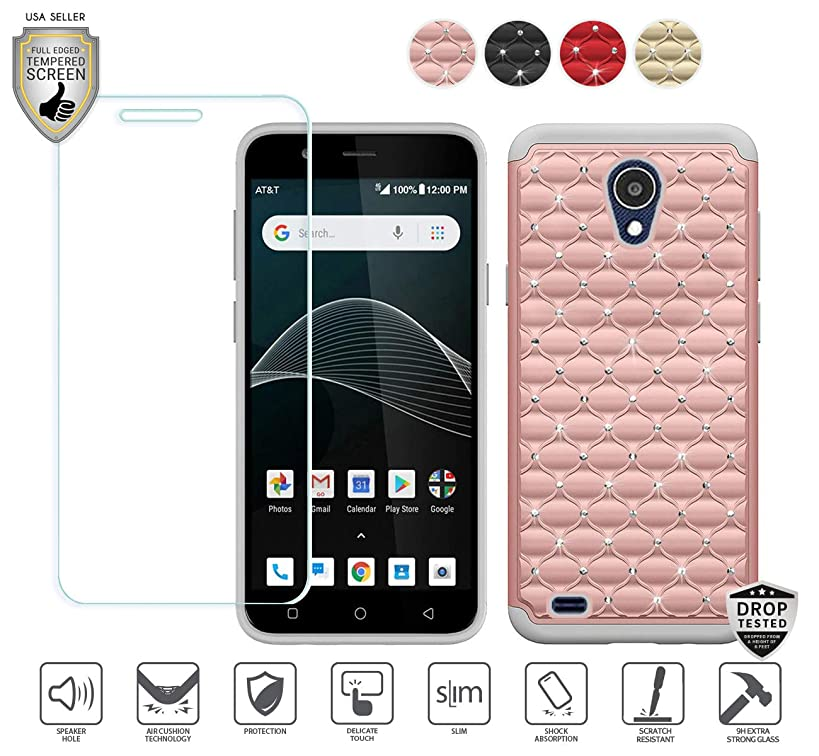 Compatible for At&t Axia QS5509a Case, Cricket Vision Case, with Tempered Glass Screen Protector, Stud Glitter Bling Diamond Design Hybrid [Shockfpoof] Tough Case for Women Girl Design (Rose Gold)