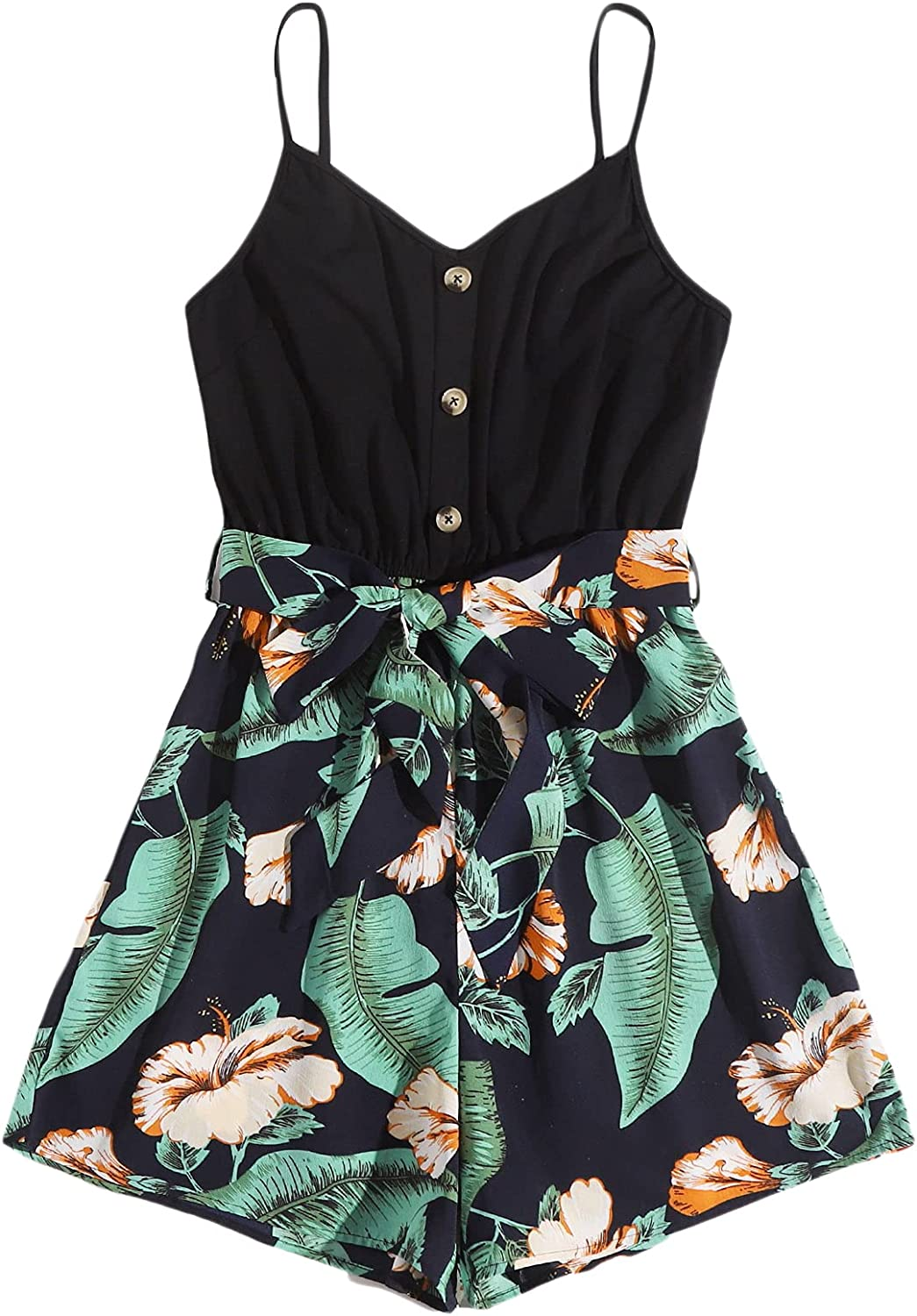 Milumia Women's Tropical Print Button Front Belted Sleeveless Ca