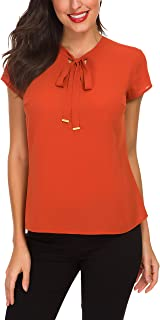 ACONIYA Womens Bow Tie Neck Long Sleeve Blouse Office Work Chiffon Elegant Casual Shirt Tops