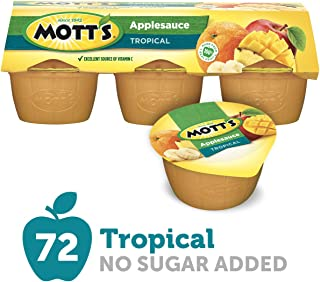 Mott's Tropical Applesauce, 4 oz cups, 6 count (Pack of 12)